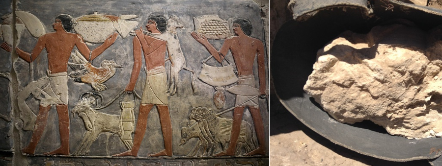 an egyptian wall mural and a container of 3000 year old egyptian cheese
