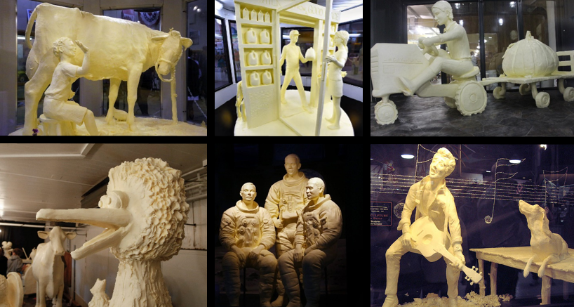 montage of USA state fair butter sculptures, including cow, tractor and astronauts